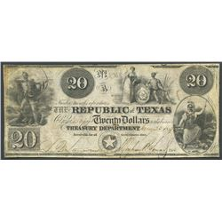 Austin, Texas, Republic of Texas, 20 dollars, 23-1-1840.