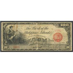 Manila, Philippines, Bank of the Philippine Islands, 100 pesos, 1-1-1928, series 1928, low serial.