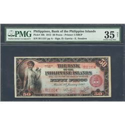 Manila, Philippines, Philippine Islands, 50 pesos, 1-1-1912, series 1912, certified PMG VF 35 Net.
