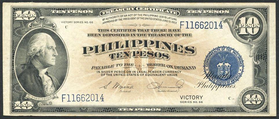 treasury certificate philippines manila 1944 pesos nd money