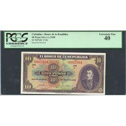 Bogota, Colombia, Banco de la Republica, 10 pesos oro, 1-1-1928, series N, certified PCGS XF 40.