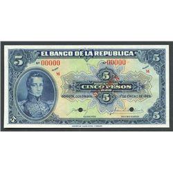 Bogota, Colombia, Banco de la Republica, 5 pesos specimen, 1-1-1928, series M.