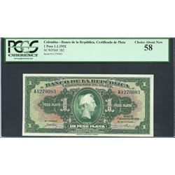 Bogota, Colombia, Banco de la Republica, 1 peso plata, 1-1-1932, certified PCGS About New 58.