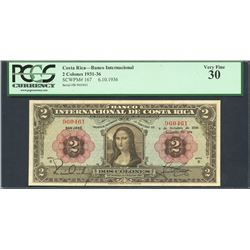 San Jose, Costa Rica, Banco Internacional, 2 colones, 6-10-1936, series B,  Mona Lisa  note, certifi