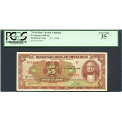 San Jose, Costa Rica, Banco Nacional, 5 colones, 28-1-1948, series G, certified PCGS VF 35.
