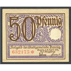 Lot of two notes of Danzig: Danzig City Council, 50 pfennig, 15-4-1919; and Danziger Zentralkasse, o