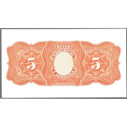 Guayaquil, Ecuador, Banco Comercial y Agricola, 5 sucres reverse proof, ND (1903-22).
