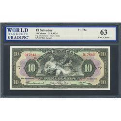 San Salvador, El Salvador, Banco Central de Reserva, 10 colones, 31-8-1934, series A, certified WBG