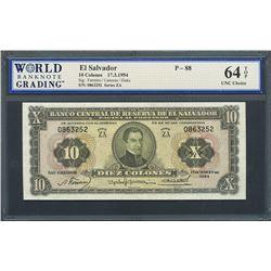San Salvador, El Salvador, Banco Central de Reserva, 10 colones, 17-3-1954, series ZA, certified WBG