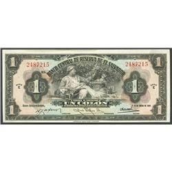 San Salvador, El Salvador, Banco Central de Reserva, 1 colon, 14-1-1943, series E.
