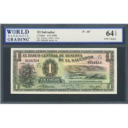 San Salvador, El Salvador, Banco Central de Reserva, 1 colon, 6-11-1952, series VA, certified WBG UN