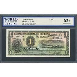 San Salvador, El Salvador, Banco Central de Reserva, 1 colon, 6-11-1952, series XA, certified WBG UN