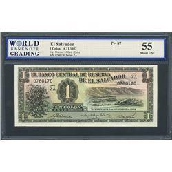 San Salvador, El Salvador, Banco Central de Reserva, 1 colon, 6-11-1952, series ZA, certified WBG AU