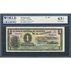 San Salvador, El Salvador, Banco Central de Reserva, 1 colon, 17-3-1954, series UA, certified WBG UN