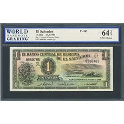 San Salvador, El Salvador, Banco Central de Reserva, 1 colon, 17-3-1954, series QA, certified WBG UN