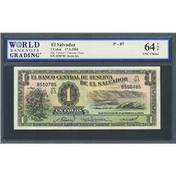 San Salvador, El Salvador, Banco Central de Reserva, 1 colon, 17-3-1954, series QA, certified WBG UN