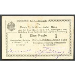 Dar-es-Salaam, German East Africa, Die Deutsch-Ostafrikanische Bank, one rupie, 1-2-1916, series A3.