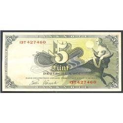 Frankfurt Am Main, Germany, Bank Deutscher Lander, 5 deutsche mark, 9-12-1948, series 13T.