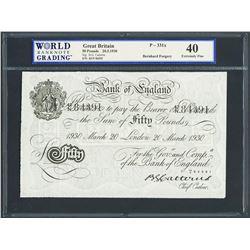 London, England, Bank of England, Operation Bernhard counterfeit 50 pounds, 20-3-1930, series 42N, c