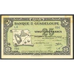 Basse-Terre, Guadeloupe, Banque de la Guadeloupe, 25 francs, ND (1942).