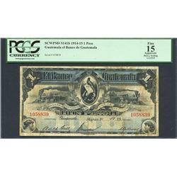 Guatemala, Banco de Guatemala, 1 peso, 1-3-1915, certified PCGS Fine 15 Apparent - Heavy Soiling.