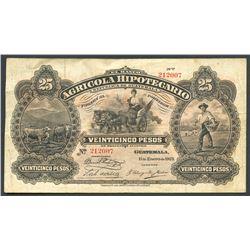 Lot of two Guatemala notes: Banco Agricola Hipotecario, 25 pesos, 11-1-1923; Banco de Guatemala, 1 p