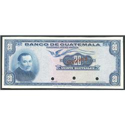 Guatemala City, Guatemala, Banco de Guatemala, 20 quetzales specimen, ND (1963-65), ex-ABNCo.
