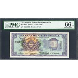 Guatemala, Banco de Guatemala, 5 quetzales, ND (1955-57), certified PMG Gem UNC 66 EPQ.