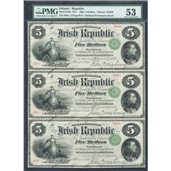 Ireland, Irish Republic, partial uncut sheet of three 5 dollars, 17-3-1866, certified PMG AU 53.