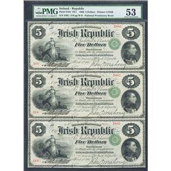 Ireland, Irish Republic, partial uncut sheet of three 5 dollars, 17-3-1866, certified PMG AU 53.