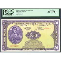 Ireland, Central Bank of Ireland, 50 pounds, 4-4-1977, certified PCGS VF 30 PPQ.