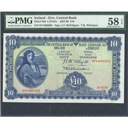 Ireland, Central Bank of Ireland, 10 pounds, 21-11-1957, certified PMG Choice AU 58 EPQ.