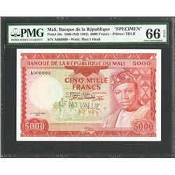 Mali, Banque de la Republique du Mali, 5,000 francs specimen, 22-9-1960, certified PMG Gem UNC 66 EP