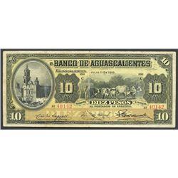 Aguascalientes, Mexico, Banco de Aguascalientes, 10 pesos, 1-7-1910, series C.