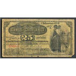 Chihuahua, Mexico, Banco de Chihuahua, 25 centavos, 1889, series A.