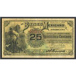 Chihuahua, Mexico, Banco Mexicano, 25 centavos, 1888, series A.