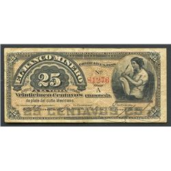 Chihuahua, Mexico, Banco Minero, 25 centavos, 1888, series A.