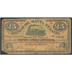 Chihuahua, Mexico, Banco de Santa Eulalia, 25 centavos, 1875, series A.