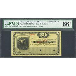 Uruachic, Chihuahua, Mexico, Compania Minera, 50 centavos specimen, 18XX, certified PMG Gem UNC 66 E