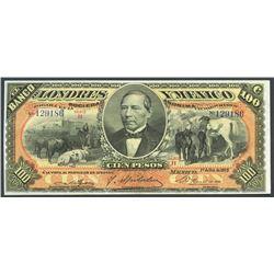 Mexico City, Distrito Federal, Mexico, Banco de Londres y Mexico, 100 pesos, 1-10-1913, series H.