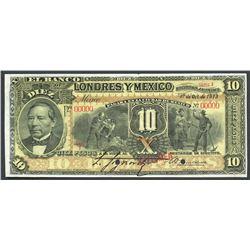 Mexico City, Distrito Federal, Mexico, Banco de Londres y Mexico, 10 pesos specimen, 1-10-1913, seri