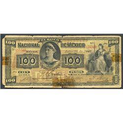 Lot of two Mexico City, Distrito Federal, Mexico: Banco Nacional de Mexico, 100 pesos, 26-7-1897, se