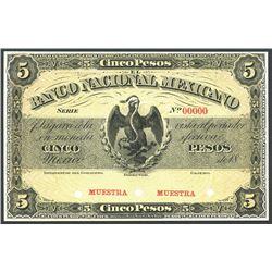 Mexico City, Distrito Federal, Mexico, Banco Nacional Mexicano, 5 pesos front proof, no date 18XX (1