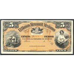Mexico City, Distrito Federal, Mexico, Banco Mercantil Mexicano, 5 pesos front proof, no date 18XX (