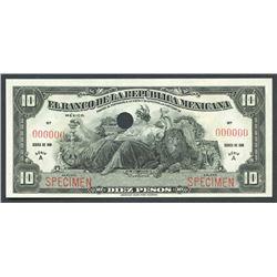 Mexico City, Distrito Federal, Banco de la Republica Mexicana, 10 pesos specimen, 1918, series A.