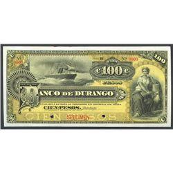 Durango, Mexico, Banco de Durango, 100 pesos specimen, ND (1900-07), series B.