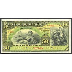 Durango, Mexico, Banco de Durango, 50 pesos specimen, ND (1891-1907), series B.