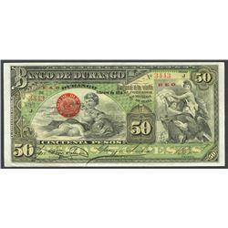 Durango, Mexico, Banco de Durango, 50 pesos, Feb. 1914, series J, smaller size variety.