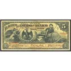 Toluca, Estado de Mexico, Mexico, 5 pesos, 16-7-1910, series B.