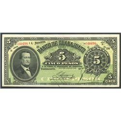 Guanajuato, Mexico, Banco de Guanajuato, 5 pesos, 20-7-1914, series E, Frampton Plate.